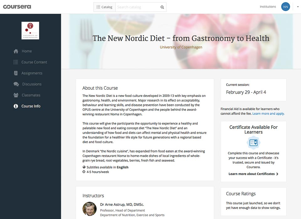 "I tested and loved … ""The New Nordic Diet"" on coursera online learning platform"